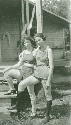 "Wharton TX - Houseworth Daughter – Bathing beauties strike a pose in the Roaring Twenties. Aline Houseworth (right) daughter of W. L. Houseworth, Wharton's county treasurer from 1932 to 1956, and her friend would have been considered daring to be seen in public dressed in the ""modern"" garb of the day."