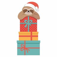 Christmas Sloth 2 Iron On Transfer - GM Crafts Christmas Sloth, Christmas Rock, Christmas Crafts, Christmas Greeting Cards, Christmas Greetings, Cute Sloth Pictures, Cartoon Network Fanart, Sloth Drawing, Clipart Png