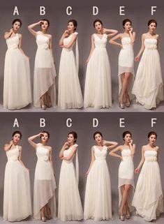 1f40e0f5b8c Elegant White Six Styles A Line Sleeveless Chiffon Bridesmaid Dresses  Evening Dresses  ElegantWhite  white