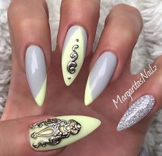 Light Grey and Pastel Yellow and Silver Glitter Nail
