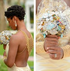 This natural hairstyle is so beautiful. And look at that bouquet with all that #bling . We love everything about this photo!