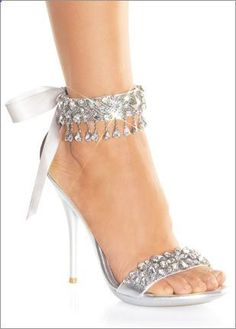 Silver Rhinestone Ankle Wrap Sandals...Lovely