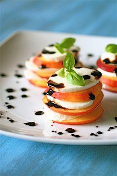 Nectarine Caprese Salad with Honey Balsamic Reduction....nectarines replace tomato!