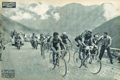 Fausto Coppi, Jean-Apotre Lazarides, Gino Bartali, Jean Robic and Stan Ockers riding up the Col de Vars, 4 minutes after Ferdi Kubler. Miroir Sprint, 1949-07-20
