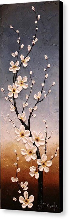 Cherry Blossoms Canvas Print by Tomoko Koyama. All canvas prints are professionally printed, assembled, and shipped within 3 - 4 business days and delivered ready-to-hang on your wall. Choose from multiple print sizes, border colors, and canvas materials. Texture Painting, Painting & Drawing, Knife Painting, Canvas Art, Canvas Prints, Canvas Ideas, Painting Canvas, Wall Canvas, Painting Techniques
