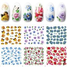 Mixed Style French Manicure 20 Sheets Very Beautiful Flower Nail Art Decorations Low Price Nail Sticker Decals(China (Mainland))
