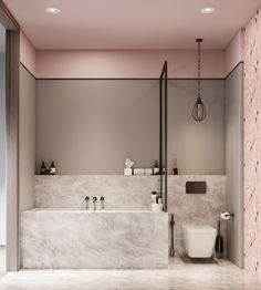 A Luxurious Home Interior with Pretty, Muted Pastel Colors While we may often think of pastel colors as appropriate for nurseries or children's rooms, the truth is they can take on a much more mature feel in the hands o - Marble Bathroom Dreams Grey Bathrooms, Beautiful Bathrooms, Small Bathroom, Bathroom Marble, Bathroom Spa, Marble Wall, Marble Shelf, Mermaid Bathroom, Bathroom Modern