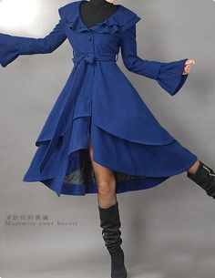 Blue Coat with Bow