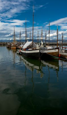Old Sailboats in Trondheim harbour.  Having floods now.