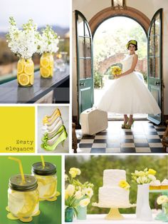 Need to find yellow, green, white dessert tables. Or have white ones and put yellow and green paper underneath. <3