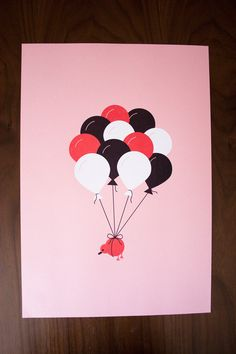 SALE 25% off -- Flying Kiwi Bird with Balloons - Screen Print - 12x18. $45.00, via Etsy.