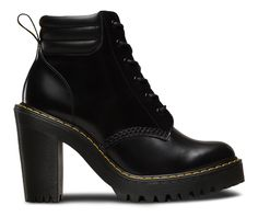 The 6-eye Persephone boot is part of the Seirene collection. In bold shiraz black leather they're instant statement-makers- with heavily grooved air-cushioned soles, yellow stitching and a high heel. The padded collar is proven to add attitude to any look.