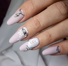 and Beautiful Nail Art Designs Rose Nails, Oval Nails, 3d Nails, Flower Nails, Acrylic Nails, Beautiful Nail Designs, Beautiful Nail Art, Gorgeous Nails, Pretty Nails