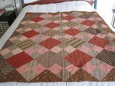 Early Primitive Brown Calico Fabric Childs Quilt Wonderful Early Country AAFA