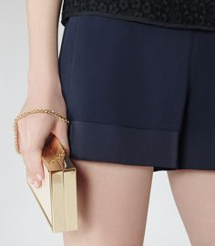 Womens Night Navy Satin-detail Shorts - Reiss Bibi
