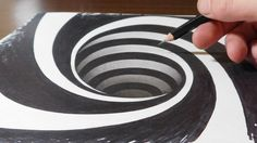 Drawing a Spiral Hole - Anamorphic Trick Art Illusion Hole Drawing, Spiral Drawing, 3d Art Drawing, 3d Drawings, Drawing Lessons, Drawing Tips, Illusion Drawings, Illusion Art, Op Art