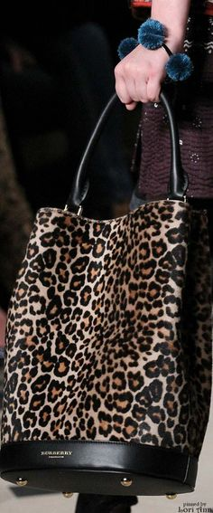 Burberry ~ Prorsum Leopard Print Leather Tote Fall 2015 #NMshoelove #NMhandbags