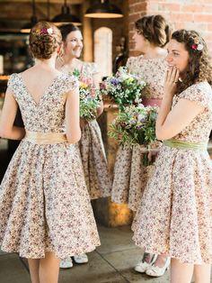 Ditsy Print Floral Bridesmaid Dresses - Theresa Furey Photography | Rustic Wedding at Shustoke Farm Barn