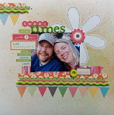 Love the masked flower in the background and the picture clustered embellishments.