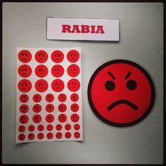 #Material #didáctico para trabajar las #emociones básicas con #pictogramas de #emoticonos. #Rabia.