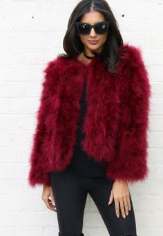 Fluffy Ostrich Feather Marabou Jacket in Burgundy - One Nation Clothing - One Nation Clothing - 1