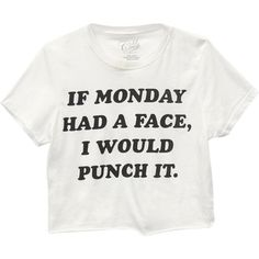 If Monday Had A Face Tee ($9.99) ❤ liked on Polyvore featuring tops, t-shirts, shirts, crop tops, screen print shirts, white t shirt, white short sleeve shirt, short sleeve t shirt and short sleeve shirts