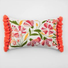 Embroidered Floral Lumbar Throw Pillow - Opalhouse™ - image 1 of 5 Cricut, Lumbar Throw Pillow, Throw Pillows, Duvet, Room Divider Screen, Spring Sandals, Home Collections, Decorative Accessories, Design Projects