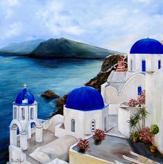 Santorini Art Print by Patricia DeHart. All prints are professionally printed, packaged, and shipped within 3 - 4 business days. Choose from multiple sizes and hundreds of frame and mat options. Watercolor Landscape, Landscape Art, Landscape Paintings, Watercolor Paintings, Greece Painting, Greek Art, Beautiful Places To Travel, Greece Travel, Canvas Art