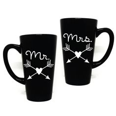 Mr and Mrs Coffee Mug Set with arrow and hearts - Couples Gift, Newlyweds, Gift for Friend, Thank you, Arrow Coffee Mug by LEVinyl on Etsy
