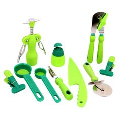 Zing 10 Piece Gadget Set-  wine opener, veggie peeler, can opener, pizza slicer, spoons, knife, bag clamps, small bottle
