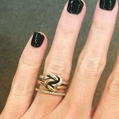 Dark nails and the classic Original Lovers' Knot Ring in sterling silver and 14k gold create a timeless #manimonday look. #JamesAvery