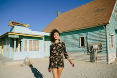 Isabelle Peschardtwears a floral print top and shorts for BB Dakota spring 2016 lookbook