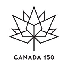 Black outline Canada 150 logo on white background