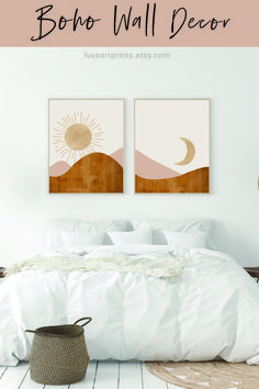 Sun and Moon boho wall art set featuring tan, blush and other earth tones.