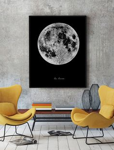 Full Moon Poster Large Moon Print Moon Poster by ChicScandinavian