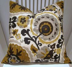 Richloom Suzani Decorative Pillow Cover --20 x 20 Designer Floral Suzani Pillow Cover in Grey and Brown. $45.00, via Etsy.