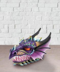 Medieval Fantasy Ferocious Mythical Purple Dragon Head Treasure Trinket Box