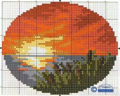 Miniature  Oval sunset pattern / chart for cross stitch, crochet, knitting, knotting, beading, weaving, pixel art, micro macrame, and other crafting projects.