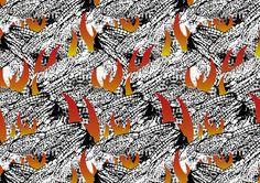 ▲トンデヒニイルナツノムシ/Rushing to one's doom 飛んで火に入る夏の虫とは、自ら進んで危険や災難に飛び込んでいくことの喩えである。 日本語のことわざからインスピレーションを受けた作品。  Rushing to one's doom:The parable of the things that go jump into danger and calamity and voluntarily. Work was inspired by the proverb of Japanese.  #gara #art #fashion #design #pattern #textile #graphic #graphicdesign #drawing #photo #柄 #japan #illustration #handdrawing