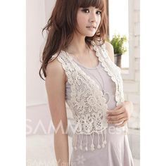 Sweety and Charming Design V-Neck Sleeveless Fringe Decorated Solid Color Vest For Women