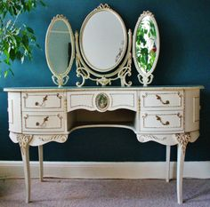 SALE Vintage French Louis Style Shabby Chic Cream Dressing Table Mirror & Stool