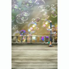 Fashion Bubbles Printing Wood Floor Photo Background Photography Studio Backdrop Props