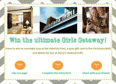 Enter to win big! The winner of the Ultimate Girls Getaway Giveaway will receive an overnight stay at the Hotel du Pont, a $500 gift card to the Christiana Mall and dinner for two at Harry's Seafood Grill!   Like our page, click the Enter to Win tab and complete the entry form. If you're using a mobile device, click here to enter http://a.pgtb.me/J90b6W.