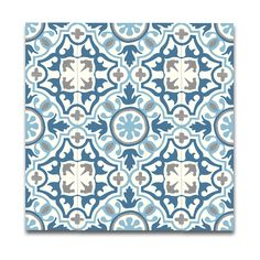 Pack of 12 Baha Blue and Grey Handmade Cement and Granite Moroccan 8 x 8-inch Floor and Wall Tile (Morocco)