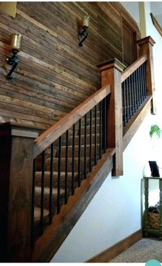 Rebar staircase unique farmhouse industrial rustic lighting wood plank wall rebar spindles for basement stairs