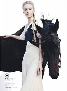 Magazine: Vogue Australia   Issue: December 2012   Editorial: Black Beauty   Photographer: Benny Horne   Cover Model: Julia Nobis @ Priscilla's Model Management   Hair: Eugence Souleiman   Makeup: Victoria Baron   Stylist: Jillian Davison   Horse: Black Caviar