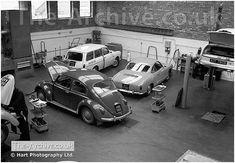 VW Beetle, Karmann Ghia & Variant at Mill Street Volkswagen Garage, Stourbridge Road, Stourbridge, West Midlands, Worcestershire. Photographed in 1968 #cars