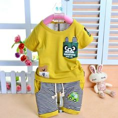 New Baby Toddler Boys Girls Rabbit Teddy Bear Car Striped T-shirt + Pants Set