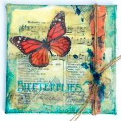 Butterfly on Beeswax Mixed-Media Collage