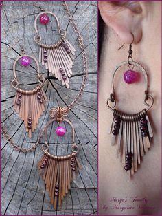 Wire wrapped handmade jewelry set handmade earrings by MargosGlow